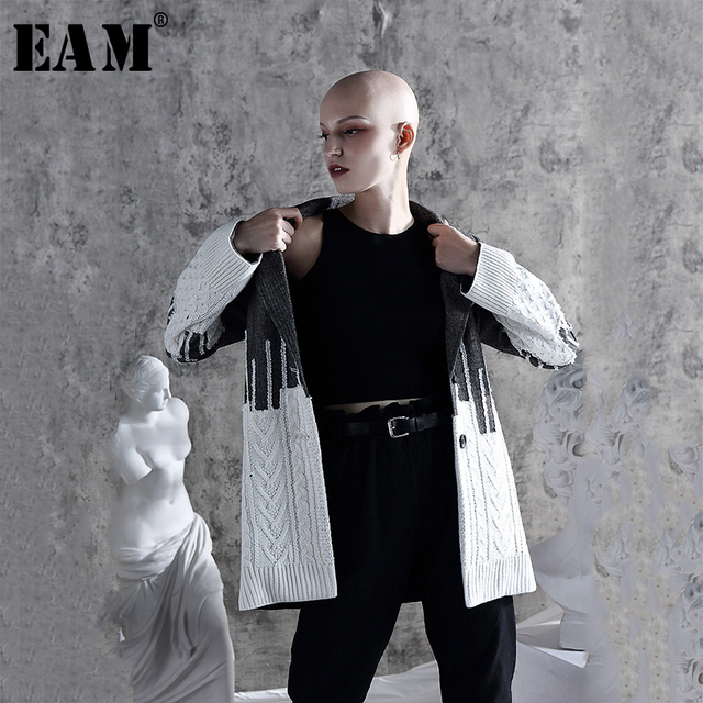 [Eam] solto ajuste contraste cor solto ajuste camisola jaqueta nova lapela manga longa casaco feminino moda maré primavera outono 2020 1a308