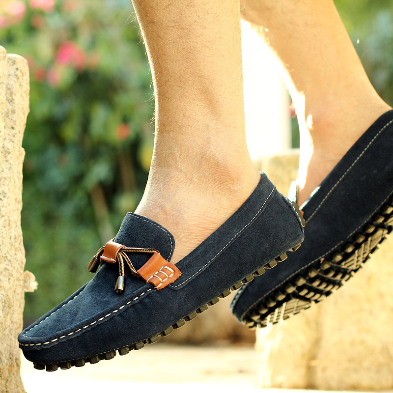 Loafers Comfortable Male Moccasins Casual Boat Footwear Vintage PU Leather Men Black 38