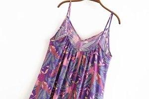 Image 4 - Đầm Sang Trọng Nữ Họa Tiết Áo Đi Biển Bohemia Đầm Maxi Nữ Cổ Chữ V Tua Rua Rayon Cotton Boho Đầm Vestidos