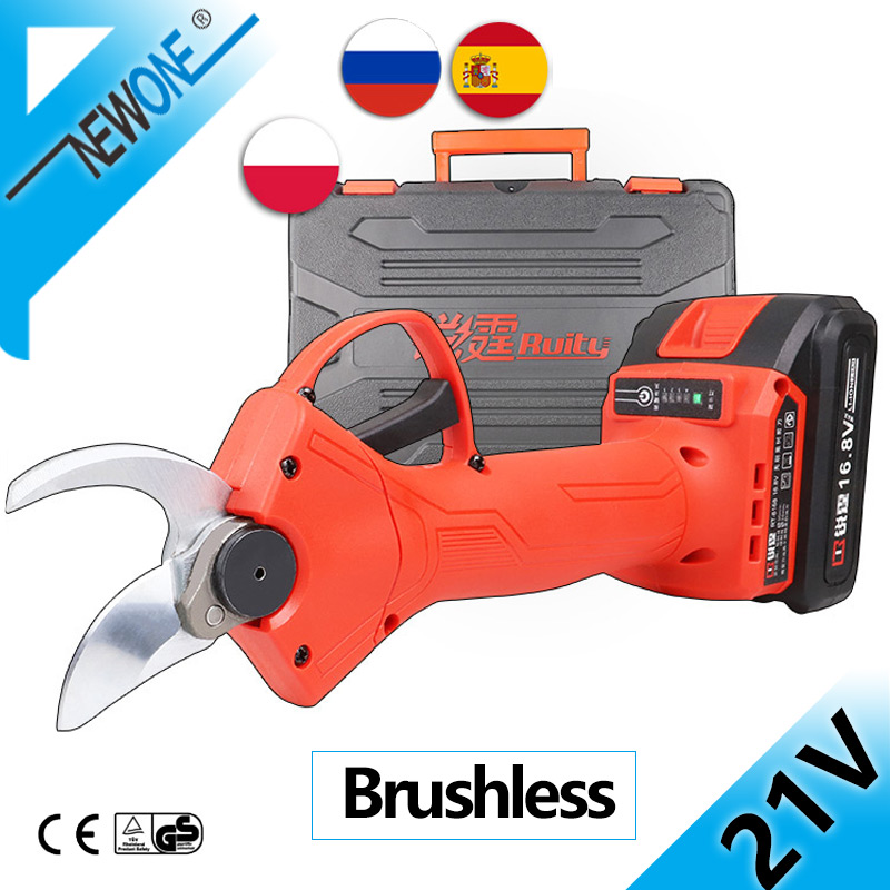 NEWONE 21V Brushless Grape branch Pruning Shear with 8-Inch 800W Mini Chainsaw Li-ion Cordless Portable Combo Kit with Case