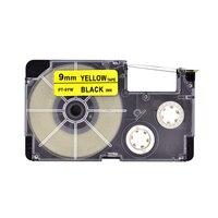 5 pçs/lote XR-9YW/PT-9YW Fita Etiqueta para 9mm Preto no Amarelo Compatível para Casio Casio EZ-Fita Impressora de etiquetas