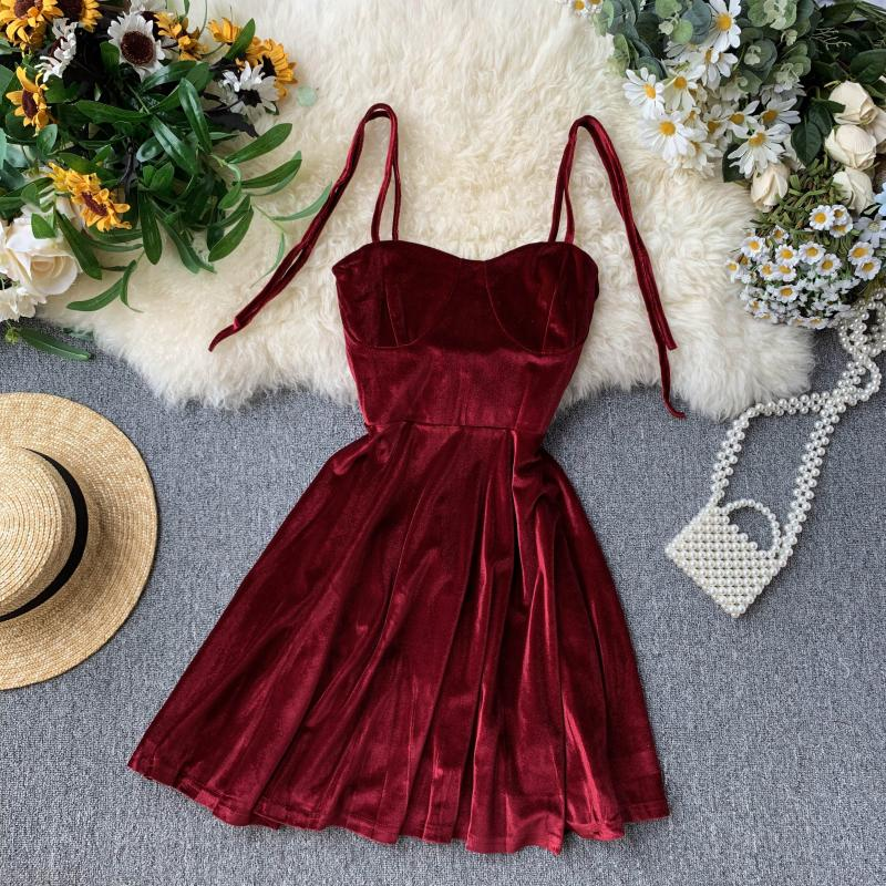 Vintage Spaghetti Strap Backless Bodycon Mini Velvet Dress 1