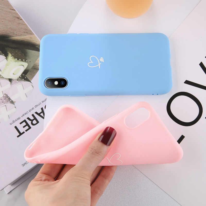 Ottwn สำหรับ iPhone 11 PRO MAX XS MAX XR X 8 7 6 6 S PLUS Love หัวใจคู่กรณีสี Candy สำหรับ iPhone 5 5 S SE นุ่มซิลิโคน