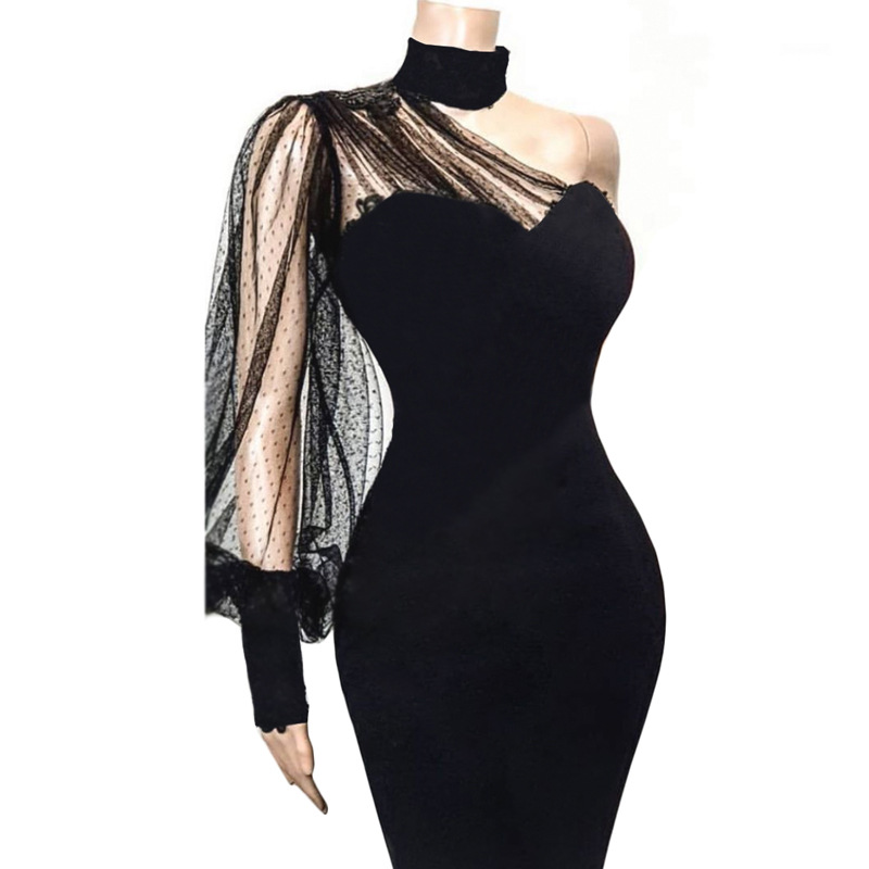 Sexy Black One Shoulder Cocktail Dresses Long Sleeves Illusion Neck Straight Women Lady Party Dress Short Mini Cloth ESAN333