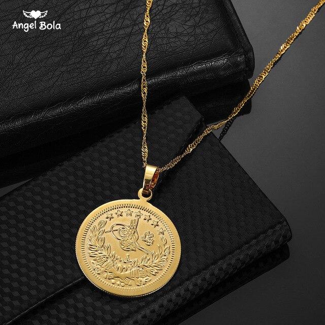 Vintage Gold Color Bijoux Men Muslim Islam Pendants Arab Allah Middle East Necklaces& Bible Verse Prayer Coin Jewelry