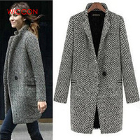 New 2019 Design New Spring Winter Women Coat Gray Wool Coat Long Brand Woolen Trench Overcoat Lady Outwear