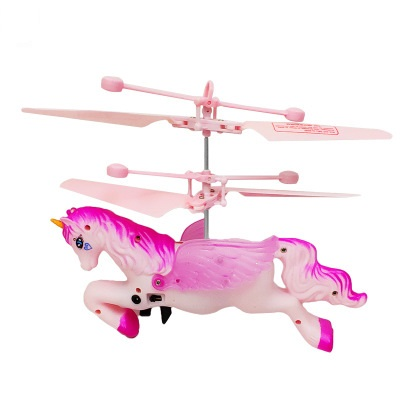Christmas New Year Cute  Gift For Kids Novelty Glowing Flying Unicorn Tosy Hand Control Induction Pegasus Luminous Aircraft