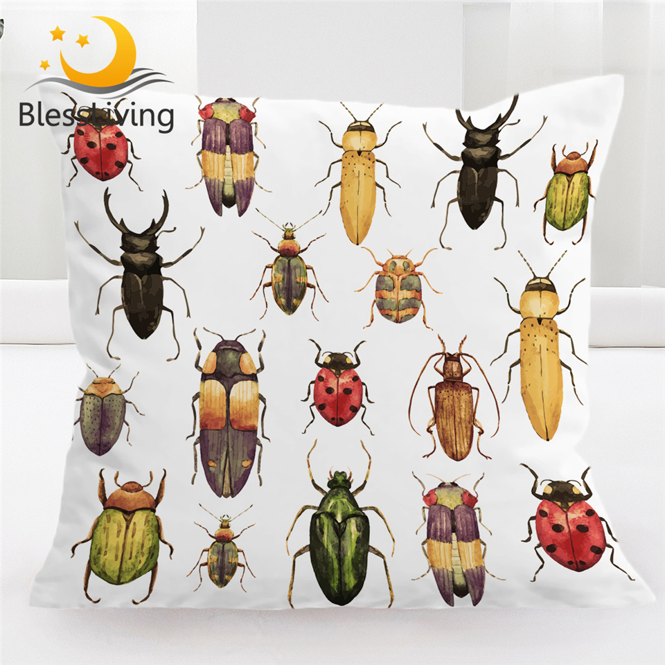 BeddingOutlet Insect Cushion Cover Beetles Pillow Case Watercolor Decorative Throw Pillow Cover Colorful Hipster Home Decor