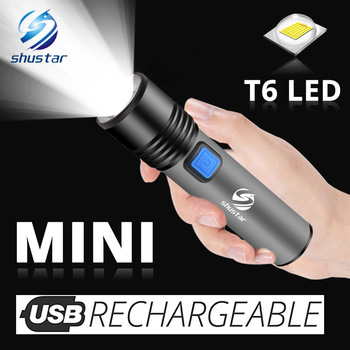 USB Rechargeable LED Flashlight With T6 LED Built-in 1200mAh lithium battery Waterproof camping light Zoomable Torch