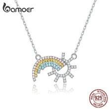 BAMOER nowa kolekcja 925 srebro Rainbow Sun wisiorki i naszyjniki biżuteria ślubna 45CM SCN366