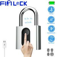 Fipilock Smart Fingerprint Lock Keyless USB Rechargeable Door Luggage Case Bag Lock Anti Theft Security Fingerprint Padlock