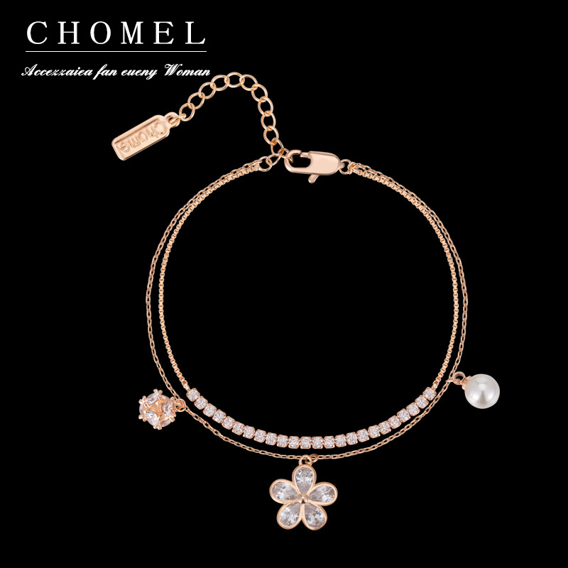 925 Sterling Silver Singapore Chomel Bracelet Female Pearl Five-Flower Double-layer Diamond Hipster Versatile Niche