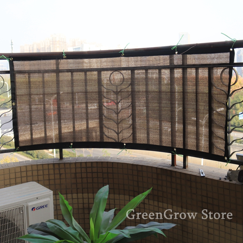 0.9x6m Hi-Quality Coffee Color Anti-UV HDPE Shading Net Home Balcony Guardrail Safety Net Succulent Plant Cover Sunshade Net