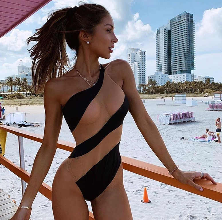 Brand New Women One Piece Bikini Push-up Padded Swimsuit Bathing Swimwear Beach Monokini Stripe Skinny One Shoulder Fashion 2019