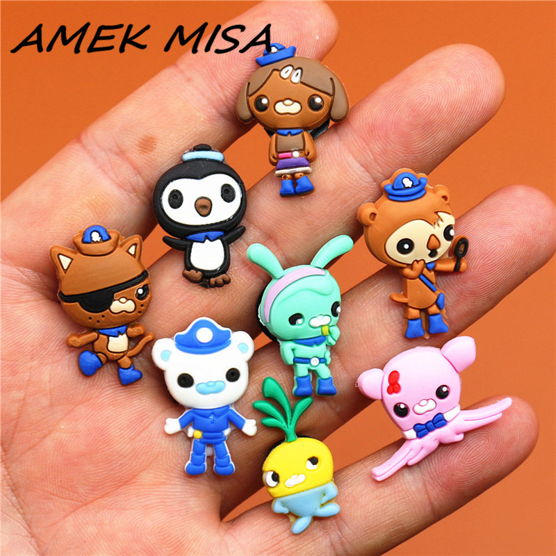 8pcs A Set PVC Cartoon Octonauts Shoe Charms Accessories Shoe Buckle Decorations Shoe Ormaments Fit Croc JIBZ Party Kid's Gifts