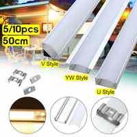 Gran oferta 5/10 Uds. 50cm soporte de canal de aluminio U/V/YW tres estilos para barra de luz LED bajo la lámpara del Gabinete cocina 1,8 cm de ancho