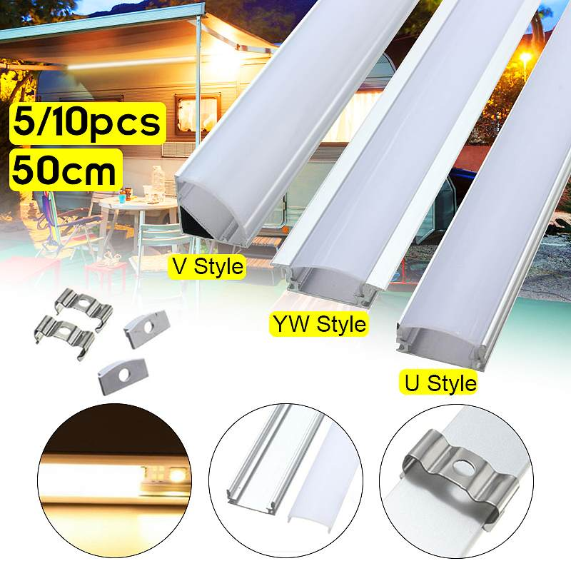 Hot Sale 5/10PCS 50cm Aluminium Channel Holder U/V/YW Three Style For LED Strip Light Bar Under Cabinet Lamp Kitchen 1.8cm Wide