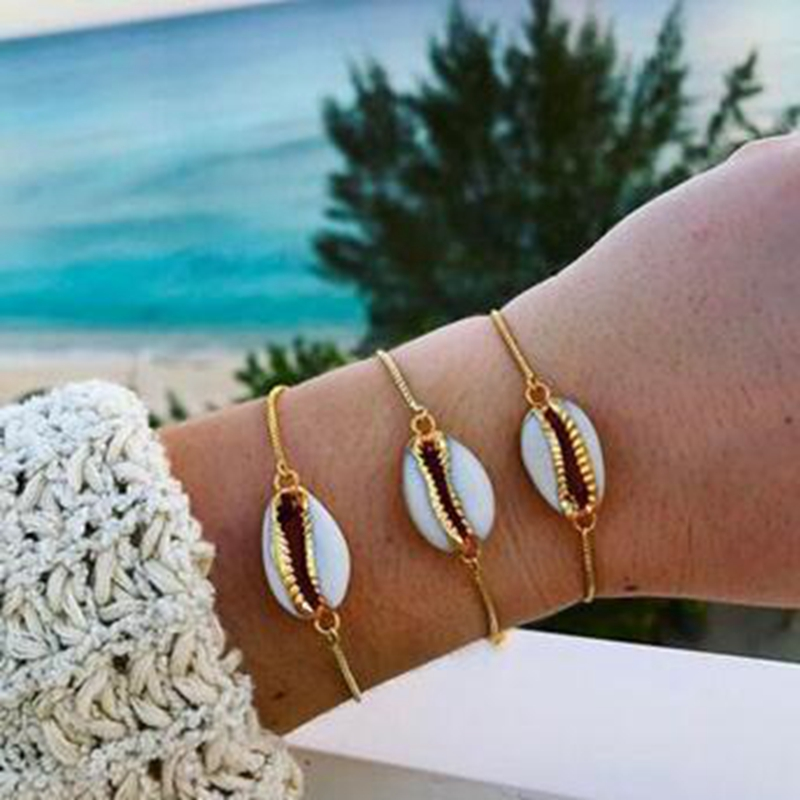 2018-Fashion-Style-Wholesale-gold-color-genuine-cowrie-shell-bracelet-in-adjustable-fashionable-1-pcs-chain