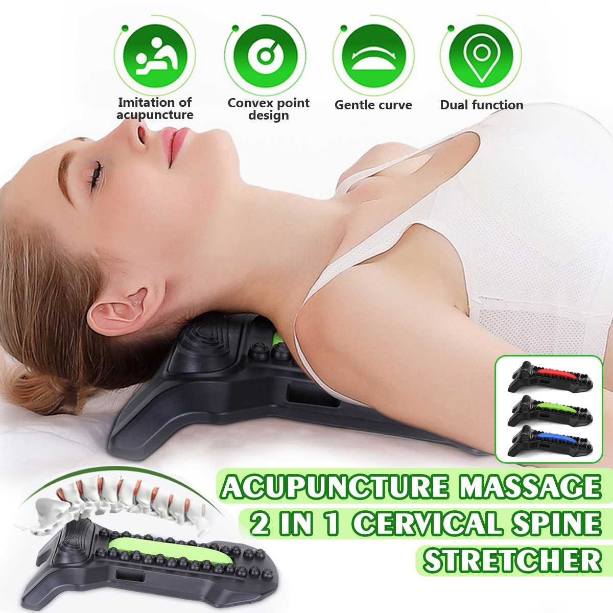 2in1 Cervical Spine Stretcher Correct Cervical Vertebra Lumbar Traction Straight Spine Relax Acupuncture Massage Board Fitness