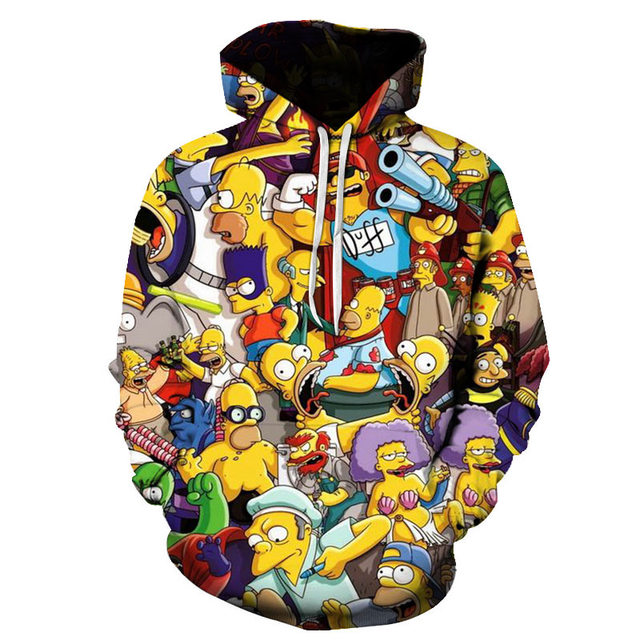 2019 new Simpson Printed 3D Men Women Hoodies 6XL Sweatshirts Quality Hooded Jacket Novelty Streetwear Fashion Casual Pullover