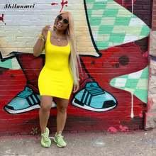 Женское облегающее мини платье без рукавов с u образным вырезом