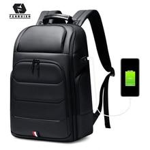 Fenruien 방수 배낭 USB 충전 학교 가방 도난 방지 남자 배낭 맞는 15.6 인치 노트북 여행 배낭 대용량
