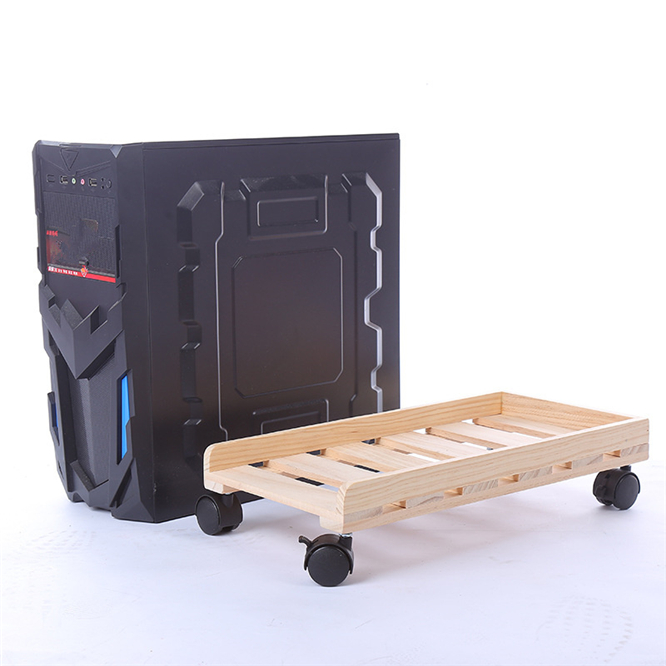 High-quality Heat dissipation Soild Wood Computer CPU Stand with Wheels for Computer Cases PC Towers CPU Holder Home decoration