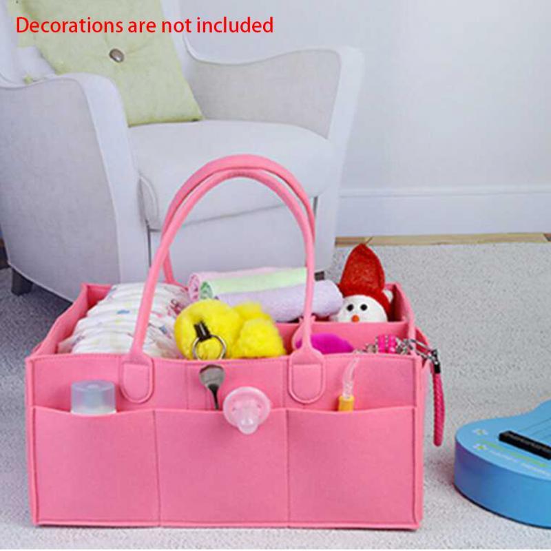 Camping Travel Storage Organizer With Handle Diaper Bag Portable Basket Large Capacity Multi Pocket Tote Felt Baby Shopping