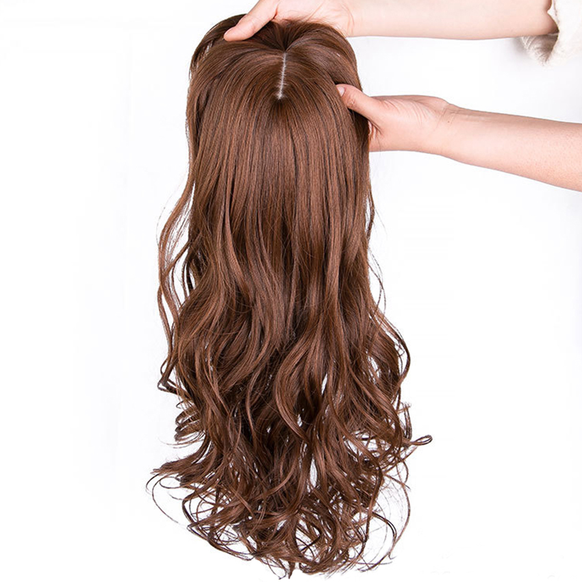 Natural Wave Women Synthetic Hair Topper Light One-piece Hair Extension With Bangs High Temperature Fiber Clip-in Hairpieces