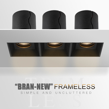 SCON, черный, белый, три головы, квадратная коробка, вниз светильник, Trimless, встраиваемый, 3*7 Вт/12 Вт, COB, светодиодный светильник, решетка s