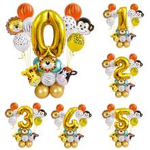 Animais da selva balão de ouro número globos safari festa de aniversário decoração crianças chuveiro do bebê baloon 1st festa de aniversário decoração
