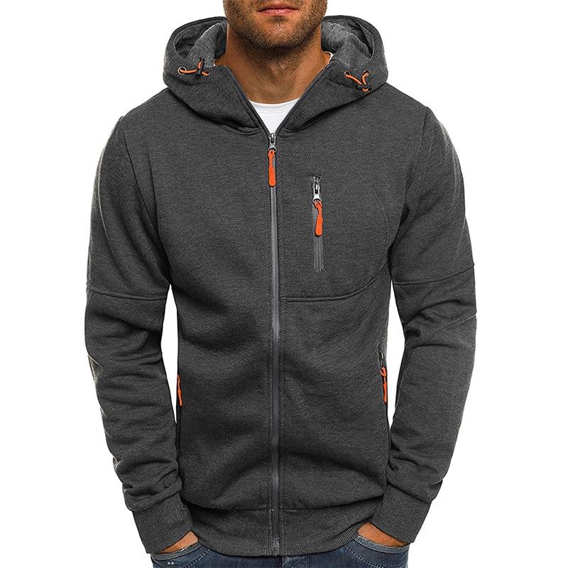 Mens Zipper Hoodies Sweatshirt Casual Long Sleeve Autumn Fashion Man Sports Fitness Solid Color Warm Hoodies Sweatshirts