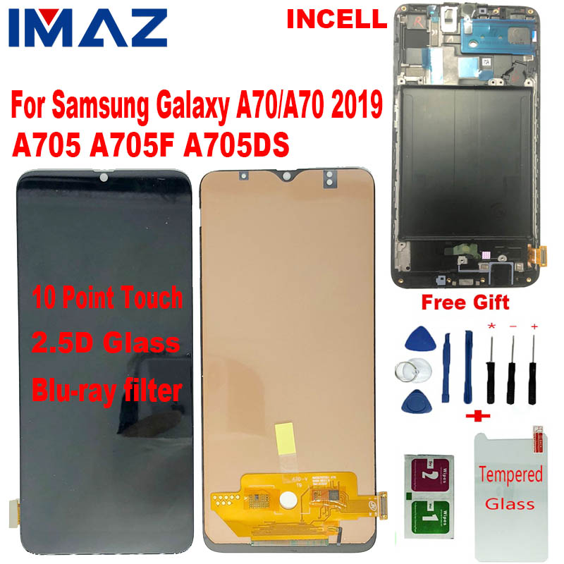 IMAZ Incell For <font><b>Samsung</b></font> Galaxy <font><b>A70</b></font> 2019 A705 A705F SM-A705F A705DS <font><b>LCD</b></font> Display <font><b>A70</b></font> Touch Screen Digitizer Assembly Replacement image
