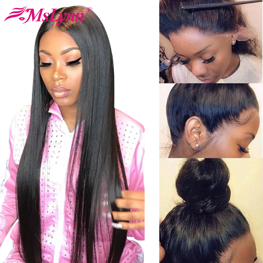 360 Lace Frontal Wig Straight Lace Front Wig Brazilian Lace Front Human Hair Wigs For Women PrePlucked Mslynn Remy 13X4 Lace Wig