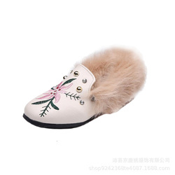 2019 Winter Fur Shoes for Princess Studs Fur Shoes embroidered flower Toddlier Faux Fox Fur Loafers Kid Flat Shoes size 21-35
