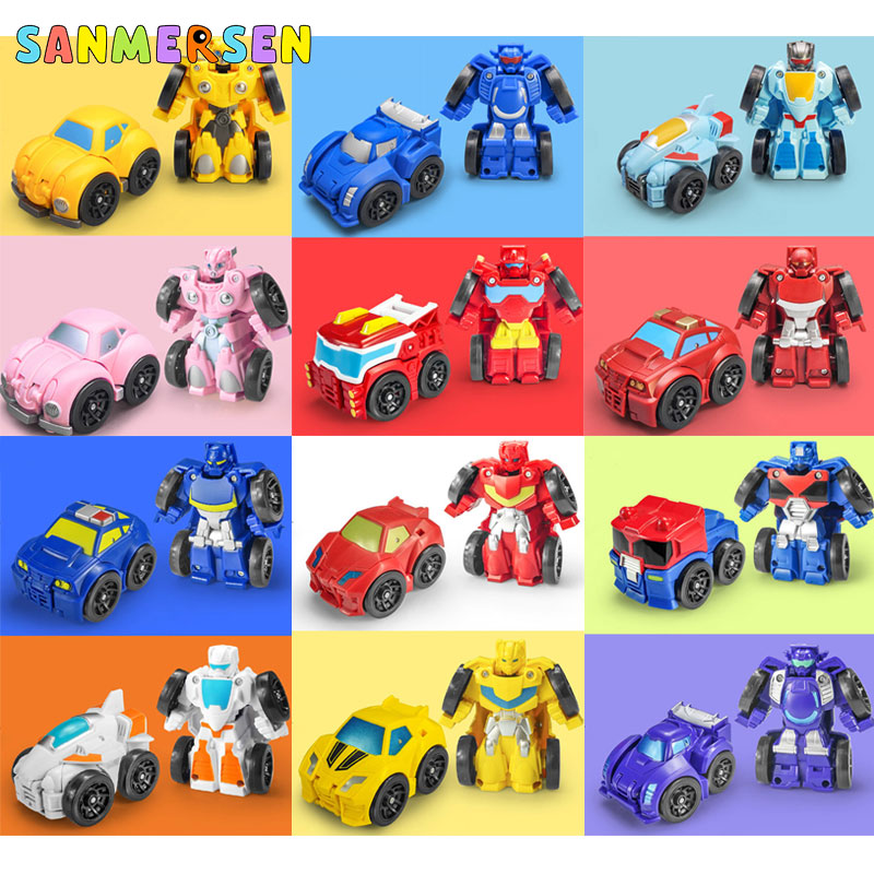 Transformation Robot Toy Pull Back Car Deformation Robot Action Figures Toys For Boy Collection Cars Vehicle Model Kids Toys