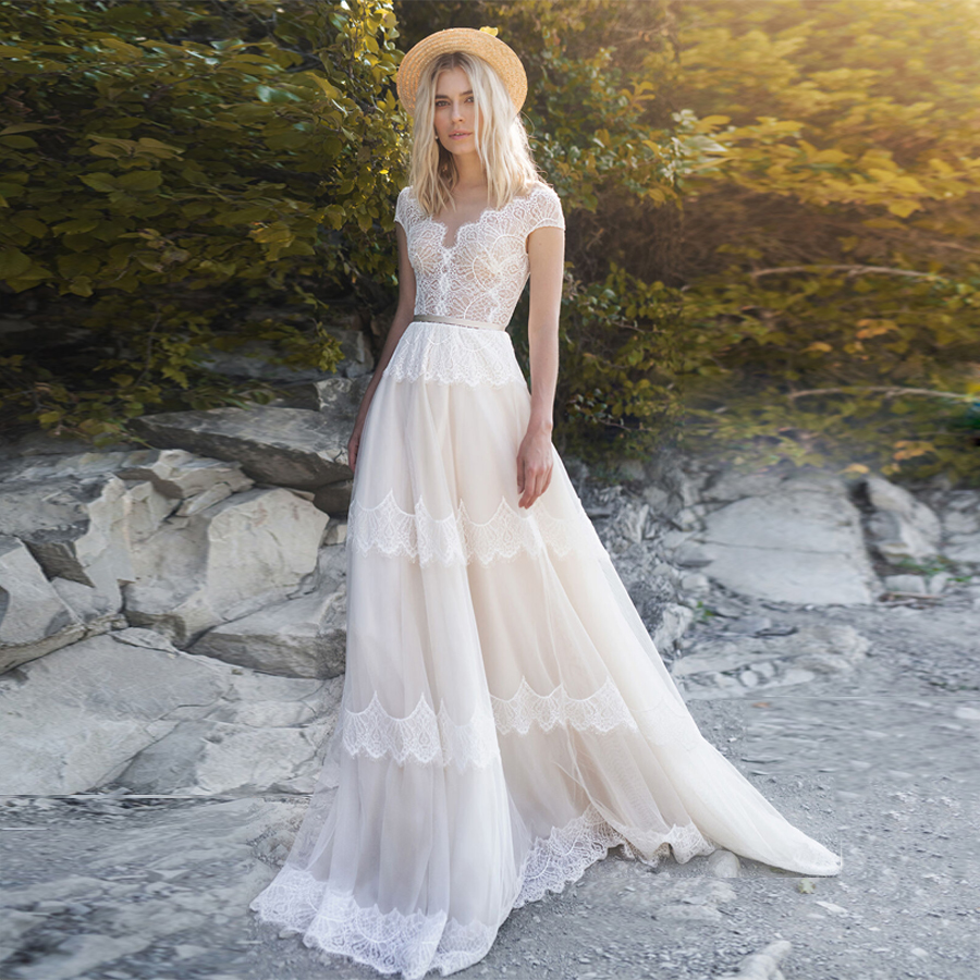 V-neck Bohemian Wedding Dresses A Line Champagne/Ivory Illusion Back Sexy Made-To-MeasureBridal Dress With Belt