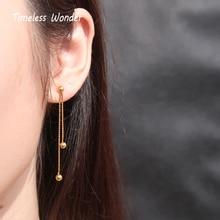 Timeless Wonder Titanium Geo Balls Tassel Drop Earrings Women Jewelry Statement Punk Gothic Boho Ins Dangle Designer Trendy 8228 geo embroidery tassel detail blouse