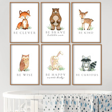 Bear Fox Deer Rabbit Owl Nursery Wall Art Canvas Painting Cartoon Nordic Posters & Prints Pictures Girl Boy Kids Room Decor