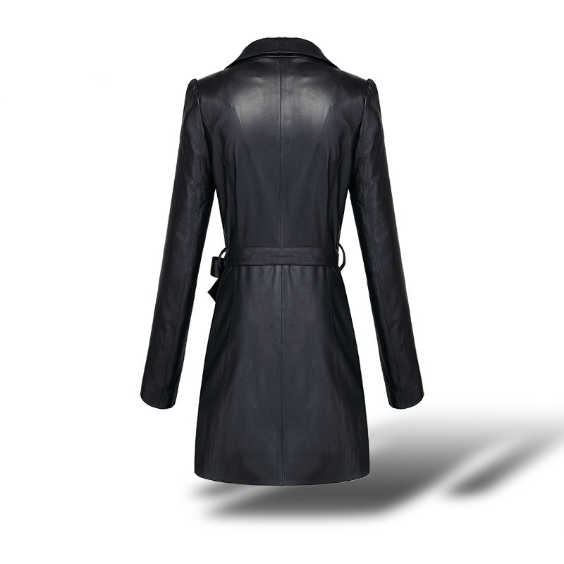 Genuine Leather Jacket Women Plus Size Montone Jacket Real Sheepskin Coats Female Long Trench Coat Spring Outwear LWL1473