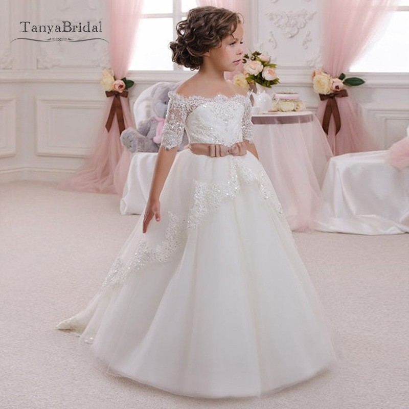 Half Sleeves Ivory Color Flower Girl Dresses Off The Shoulder Lovely Girls Beauty Pageant Gown Wedding Party Dress With Belt