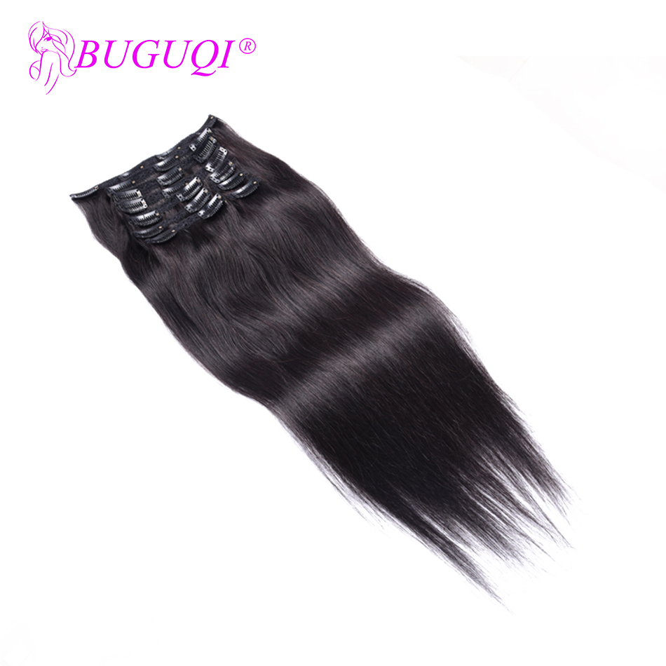 BUGUQI Hair Clip In Human Hair Extensions Mongolian Natural Color Remy 16- 26 Inch 100g Machine Made Clip Human Hair Extensions
