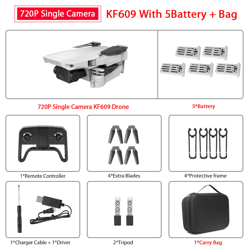 ZWN KF609 drone HD 4k WiFi real-time transmission fpv video live recording dual camera height keeping drone with camera