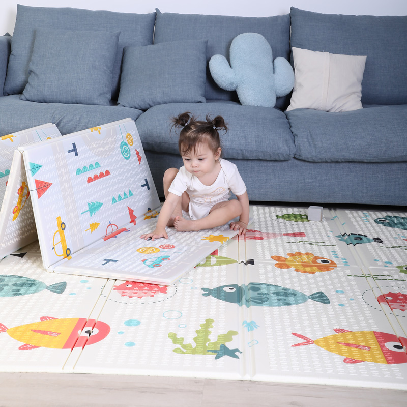 Hf4058d205ae1472ab4f66e7247bf1580o 200*180cm  Foldable Cartoon Baby Play Mat Xpe Puzzle Children's Mat Baby Climbing Pad Kids Rug Baby Games Mats