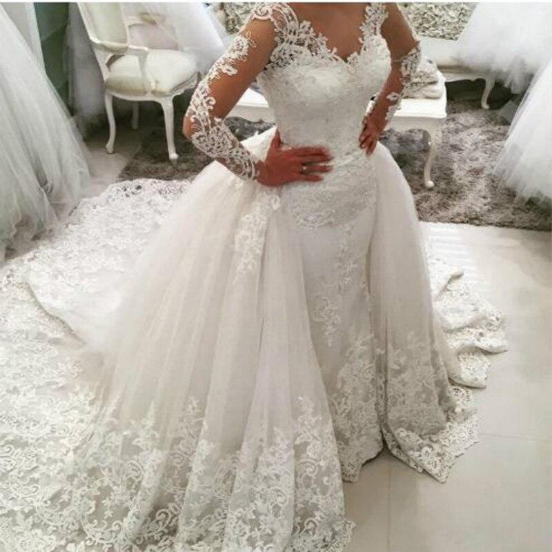 Wedding Dress 2019 New Sexy Fishtail Wedding Dress Two Removable Tail Fishtail Wedding Dresses