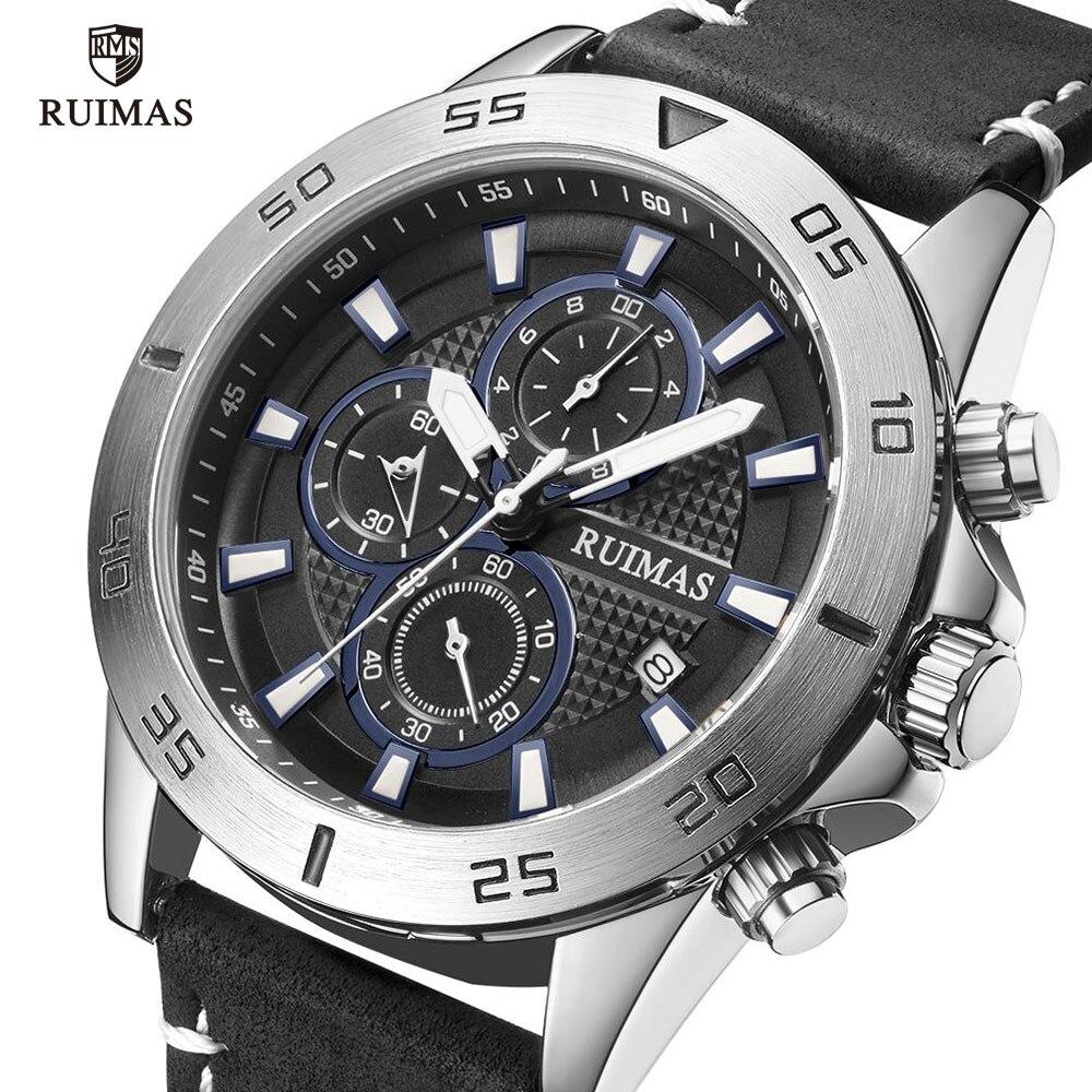 RUIMAS Casual Watches Men Luxury Black Leather Strap Wristwatch Military Sports Chronograph Quartz Watch Man Relogios Clock 572