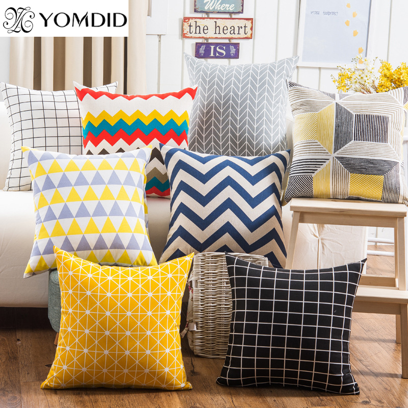 Colorful Geometry Pattern  Cushion Cover Decorative Pillows Linen Cotton Pillowcases Sofa 45x45cm Cushion Cover
