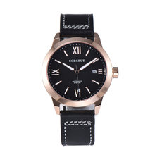 Sapphire crystal Corgeut 41mm black dial luminous marks rose gold plated case miyota 8215 automatic movement men's watch(China)