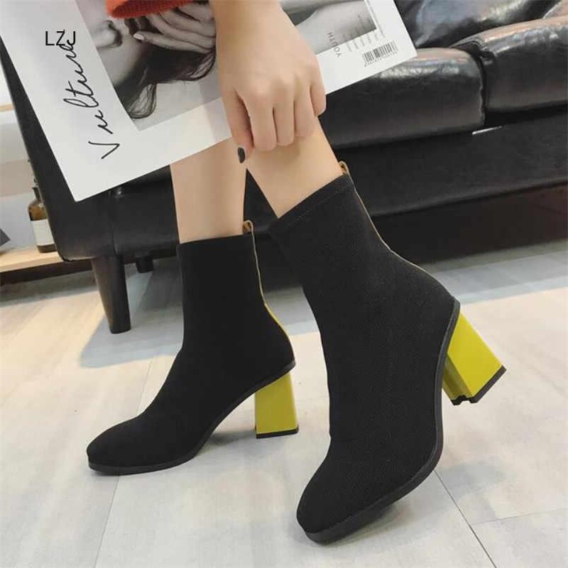 LZJ 2019 Streç Kumaş Orta buzağı Çizmeler Kadın Kare Ayak Çorap Kare Yüksek Çizmeler Kadın Moda Bota feminina Yüksek 7cm