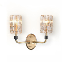 Modern LED Crystal Wall Lamp Copper Wall Sconce Lamps Bedroom Aisle Dining Living Room Bedside Hotel Kitchen Fxtures Wall Lights